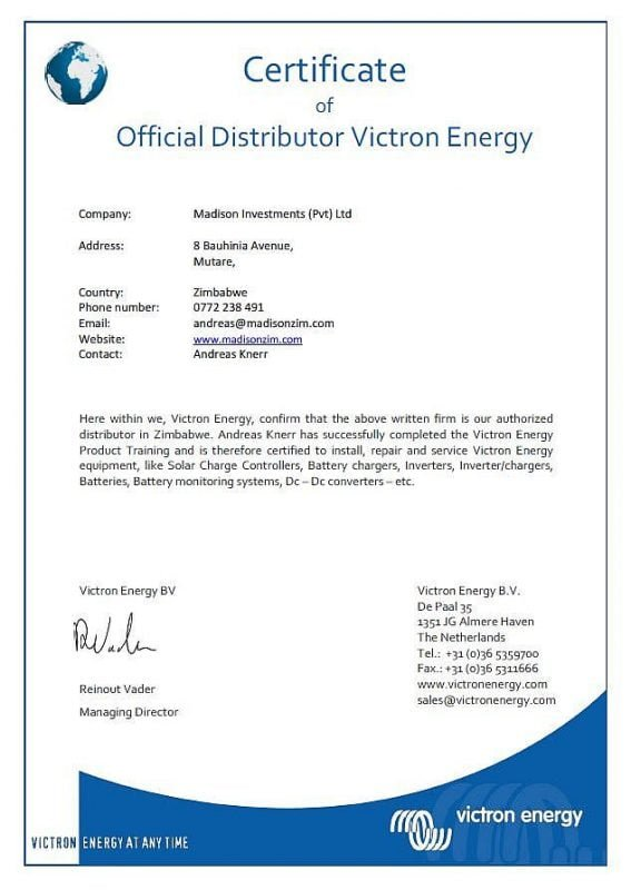 Victron Official Distributor Certificate